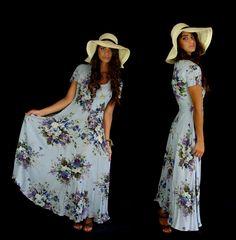 vtg 90s pastel blue FLORAL full skirt MAXI DRESS grunge xs/s festival romantic. $44.00, via Etsy.
