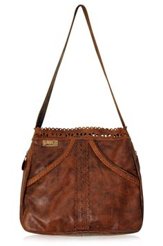 Brown leather handbag with cut out details. Handmade in Bali. – ELF
