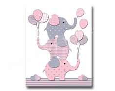 Hey, I found this really awesome Etsy listing at https://www.etsy.com/listing/216085200/elephant-nursery-decor-pink-gray-nursery