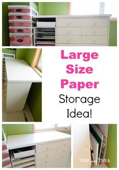 Large Size Paper Storage Idea ~ Do you have some large size paper, poster board and similar sized items that are an awkward size to store in your home? I have a really smart solution for you!