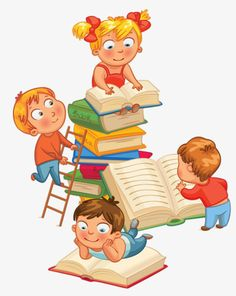 Cartoon drawing of children in the sea of books PNG and Clipart School Door Decorations, Classroom Decor Themes, Cartoon Images, Cartoon Drawings, Drawing For Kids, Art For Kids, Kids Reading Books, Library Inspiration, School Murals