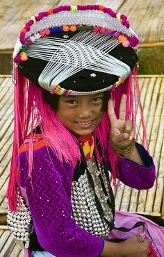 Lisu hill tribe girl in traditional costume