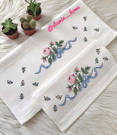 Cat Cross Stitches, Hand Embroidery Stitches, Crewel Embroidery, Cross Stitching, Cross Stitch Embroidery, Cross Stitch Patterns, Cross Stitch Flowers, Baby Girl Dresses, Table Runners