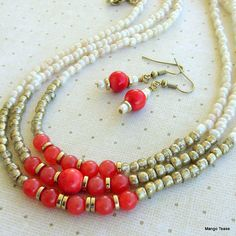 Antique White Coral Gold Necklace Earring Set Boho by MangoTease