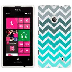 Nokia Lumia 521 Chevron Grey Green Turquoise Pattern Phone Case Cover $8.98
