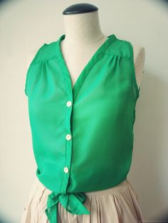 Green Button Down Tank With A Tie At The Bottom