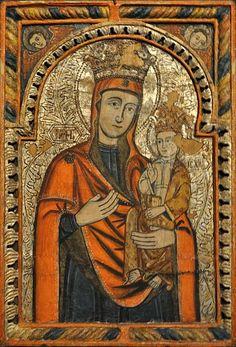 Icoană împărătească: Maica Domnului cu Pruncul de la Biserica de lemn din Budești Josani.  Biserica de lemn din Budești Josani este o biserică de lemn maramureșeană în cheotori, datată 1643.