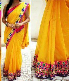 Kutch work saree Indian Attire, Indian Wear, Beautiful Saree, Beautiful Outfits, Kutch Work Saree, Indian Sarees, Ethnic Sarees, Modern Saree, Simple Sarees
