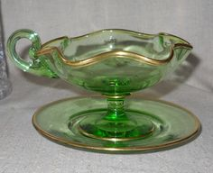 Moser Czech Bohemian Sauce Dish with Under plate late 1800's by VintageGlassGoddess on Etsy