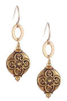 mariechavez gold floral embossed earrings