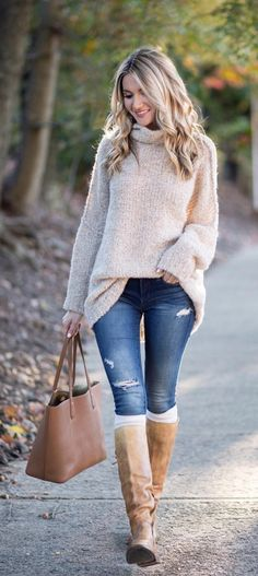 ivory sweater blue jeans flat tan knee boots and white socks fall outfit
