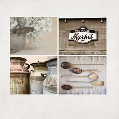 Neutral Rustic Kitchen Art Country Decor Farmhouse by AgedPage