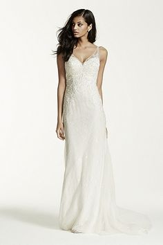 Galina Signature NEW! - Petite Lace Sheath Gown with V Neckline Style 7SWG675 In Store & Online $950.00