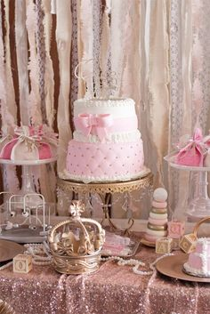 You have to see the stunning details in this Elegant Baby Shower featured at Kara's Party Ideas. You'll be able to plan one of your own with the ideas! Christening Table Decorations, Baby Shower Table Centerpieces, Cake Table Decorations, Baptism Centerpieces, Baby Shower Decorations, Party Tables, Centerpiece Ideas, Baby Shower Princess, Princess Birthday