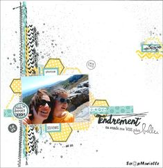 Page Challenge - stamp directly onto your background paper. Heritage Scrapbooking, Mixed Media Scrapbooking, Scrapbooking Layouts, Digital Scrapbooking, Scrapbook Designs, Scrapbook Sketches, Diy Scrapbook, Scrapbook Pages, Mini Albums