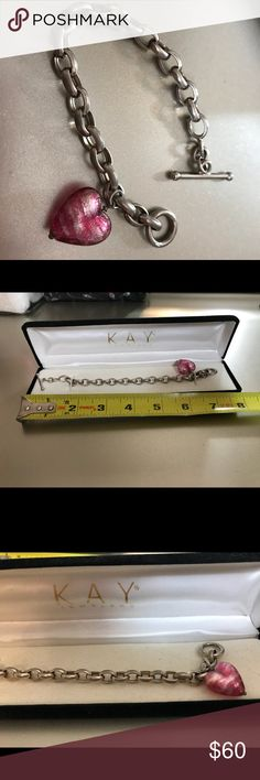 KAY heart bracelet pink venetian glass KAY heart bracelet pink venetian glass -sterling silver Kay Jewelers Jewelry Bracelets