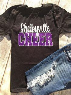 $20. Cheer Team, Team Pride, School Spirit, Cheer Mom, Cheerleading Squad Shirt, School Colors, Tumbling, Dance, Unisex Fit Glitter Tee Shirt #cheerleading #ad
