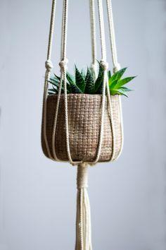 Macrame Plant Hanger / 40 Inch / 1/8 inch Braided Cotton Cord