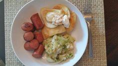 Polska fried cabbage, potato perogi with horseradish cream and grilled kielbasa.