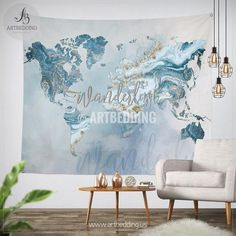 Watercolor world map wall tapestry grunge world map wall tapestry ocean blue and gold wanderlust world map wall tapestry boho summer vibes marble world map gumiabroncs Images