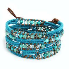 Amazon.com: Chen Rai Woven Turquoise Cord with Mixed Gemstones Wrap Bracelet: Jewelry