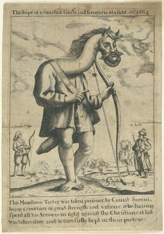 """""""The shape of a Monster taken in Hungaria at a fight An[n]o 1664"""" with the battle in the background, and small figures labelled """"a tarter"""" and """"a female tarter"""". Impression from National Portrait Gallery"""