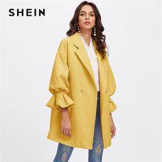 4d5e7533142ad SHEIN Yellow Office Lady Elegant Drop Shoulder Pearl Detail Ruffle Cuff  Highstreet Coat Autumn Women Minimalist