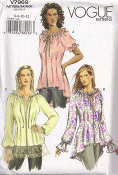 Bohemian Tops | Vogue 7969 Tunic Blouse Boho Peasant Top Sewing Pattern Size 6, 8, 10 ...