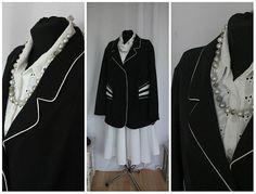 Jacket Black White Vintage  1980 80s  Elegant Size XXL/ US 20W /EU 54  Midi Vintage Clothing Hipster
