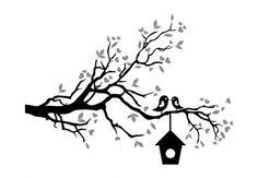 Wandtattoo - Wandtattoo Loving Sparrows mit Vogelhaus (2-farbig)
