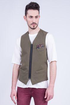 Cotton Waistcoat In Zip Opening