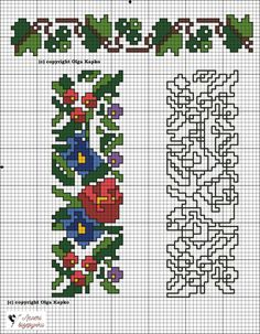 Cross Stitch Bookmarks, Cross Stitch Art, Cross Stitch Flowers, Cross Stitch Designs, Cross Stitching, Cross Stitch Embroidery, Cross Stitch Patterns, Crochet Border Patterns, Embroidery Patterns
