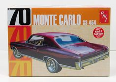The 1970 Chevy Monte Carlo SS 454 car model kit is made by AMT in 1/25 scale. - Build it stock with a 454 cu. in V-8, chrome rally wheels and bucket seats - Authentic Monte Carlo dashboard - Detailed