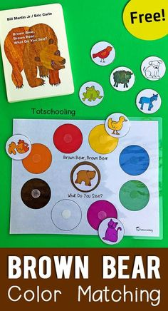 A fun way to work on colors- with the classic book- Brown Bear! A great hands- on way to work on matching colors with toddlers and preschoolers! #teachingcolors #preschoolers