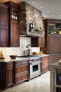 Traditional Kitchen with slate tile floors, L-shaped, Simple granite counters, Slate Tile, Stone Tile, Polished granite tiles