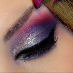 "Wow! Absolute perfection in blending technique!!! Love it!  Products Used  Eyes • NYX Eyeshadow ""Hot Pink"" • NYX Eyeshadow ""Rust"" • Wet n Wild Liquid Liner in Black • NYX Eyeshadow in Purple • NYX Silver Eyeshadow • Cover Girl Lashblast • NYX Geisha • NYX Eyeshadow base"