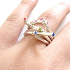 Delicious silver tube and resin stack rings.