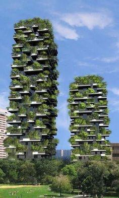 Милан. Италия. Дома с вертикальными садами.