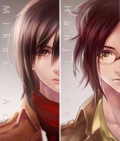 Attack on titan, Mikasa and Hanji