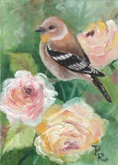 Paulie Rollins~ Goldfinch On The Roses