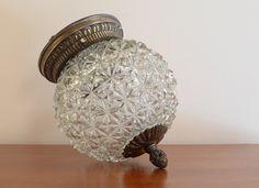 Vintage Ceiling Lamp - Gorgeous Light Fixture, Diamond Cut Glass Globe w… Vintage Light Fixtures, Pendant Light Fixtures, Vintage Lamps, Vintage Lighting, Ceiling Fixtures, Ceiling Lamp, Globe Lamps, Globe Lights, Light Globes