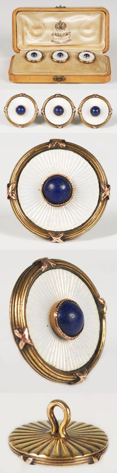 FABERGÉ ~ MEN'S SHIRT STUDS, NEOCLASSICAL STYLE, WHITE ENAMEL ON A SUNBURST GUILLOCHÉ GROUND, SET WITH A LAPIS STONE ~ SAINT PETERSBURG, RUSSIA.