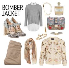 """""""The Bomber Jacket"""" by surayo ❤ liked on Polyvore featuring Miu Miu, Topshop, Hollister Co., Nordstrom, Needle & Thread, Lanvin, Valentino, Judith Ripka, Library of Flowers and women's clothing"""