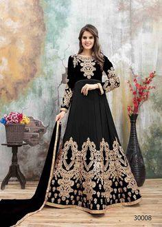 e5afc7e077 Black Color Embroidery Faux Georgette Floor Length Anarkali Suit