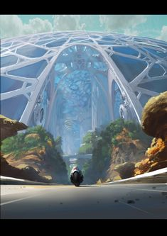 Riding a motorcycle into a domed futuristic city.