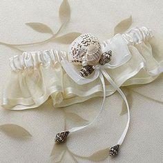 Seashell Beach Theme Ivory Bridal Garter