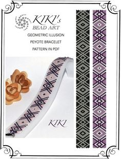 Pattern, peyote bracelet - Geometric illusion in two colour versions peyote bracelet cuff PDF pattern