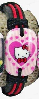 Hello kitty Pink, Red Hemp Genuine Leather Bracelet 4 Girls/Women FREE SHIPPING