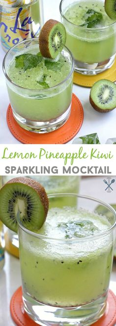 This sparkling mocktail with the tropical flavors of pineapple and kiwi is the perfect healthy summer drink sans the alcohol! Perfect for an afternoon refresher and great for pregnant moms to be!