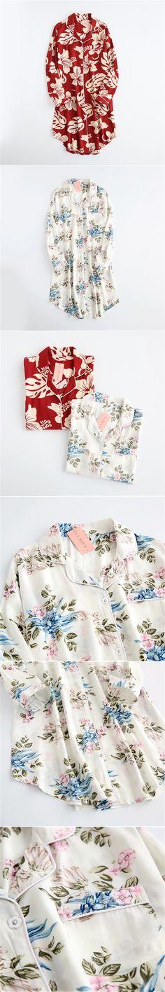 Printed Sleep Shirts Women Autumn Night Shirt Sun Shirt Long Sleeve Nightgowns Viscose Sleepwear